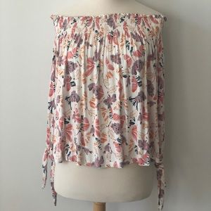 Free People Ivory Top with Floral Pattern NWT